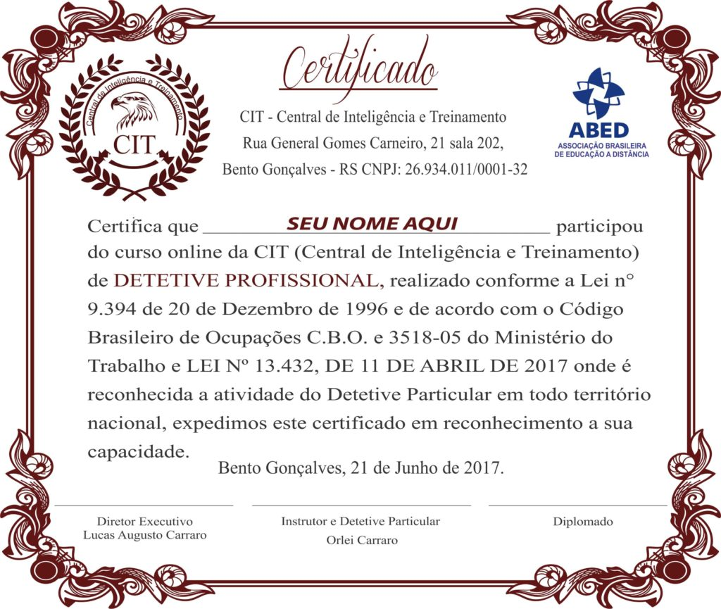 certificado detetive 2017